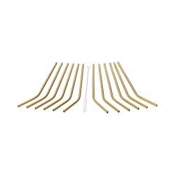 Słomki stalowe złote zgięte - zestaw 12 szt