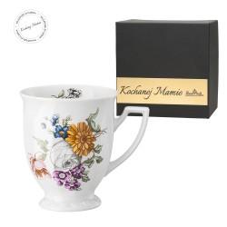 Kubek mały Maria Flowers mot.1 w pudełku z dedykacją - KOCHANEJ MAMIE