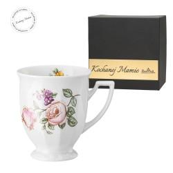 Kubek mały Maria Flowers mot.3  w pudełku z dedykacją - KOCHANEJ MAMIE