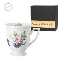 Kubek mały Maria Flowers mot.4  w pudełku z dedykacją - KOCHANEJ MAMIE